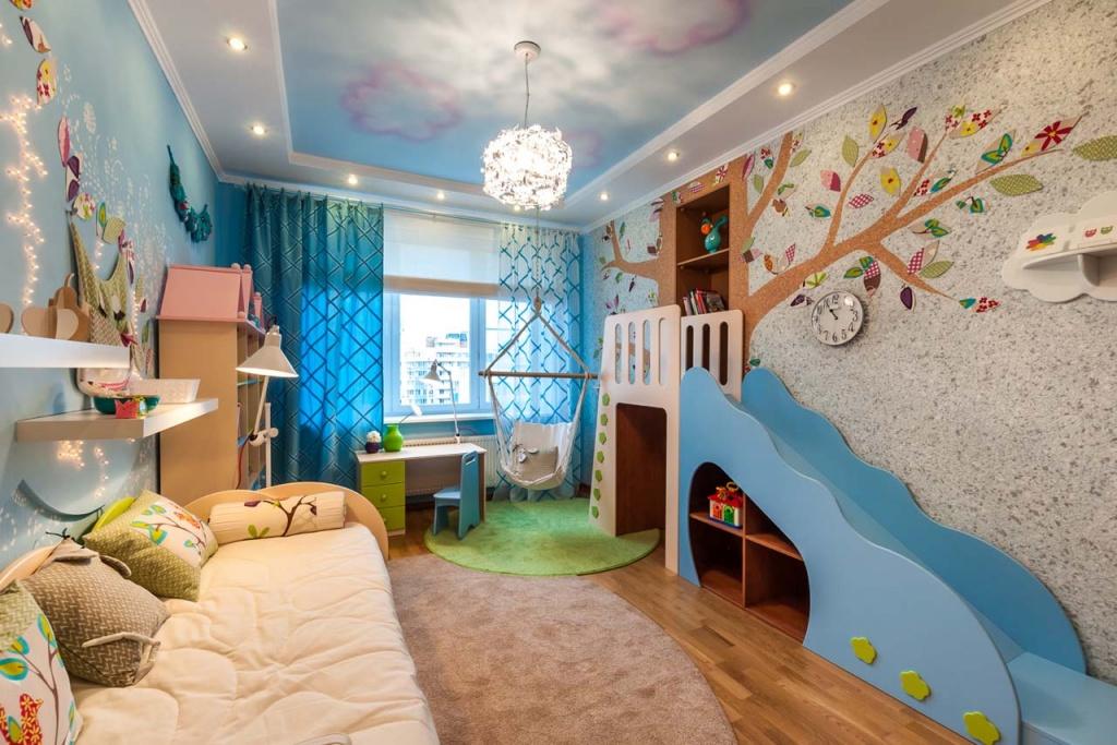Дизайн стены своими руками в детской комнате 24